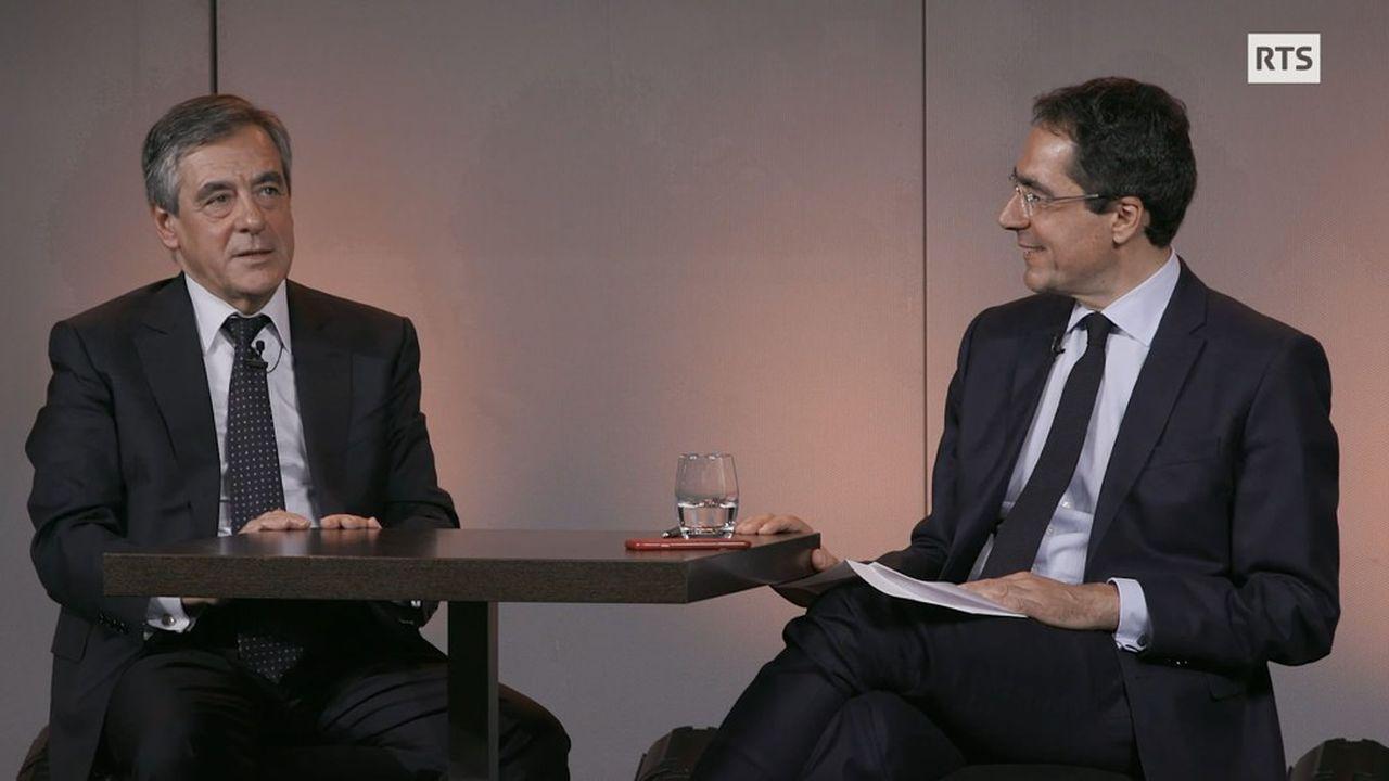 François Fillon lors de son interview à la chaîne suisse RTS.
