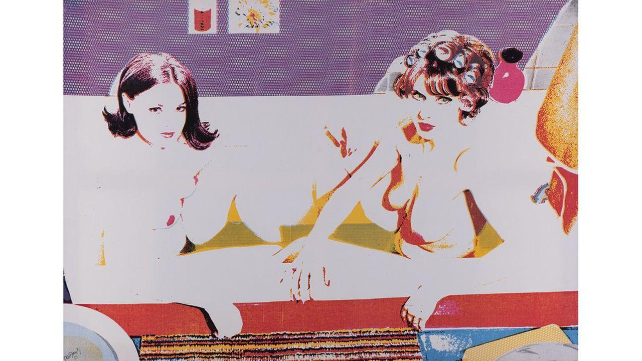 Alain Jacquet (1939-2008). Gabrielle d'Estrées, 1965. Sérigraphie sur toile Signée et datée en bas à gauche Annotée au dos: 'AJ-GAB-65-5' 115 x 162,5 cm.