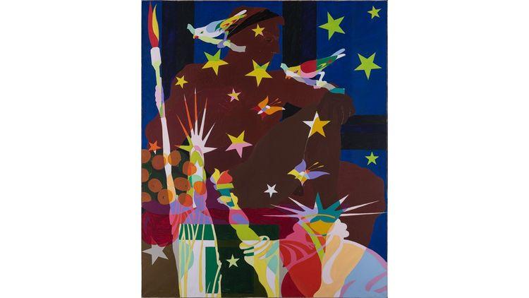 Alain Jacquet (1939-2008) Camouflage Michel Ange, 'Sixtine chapel' V, 1963 Huile sur toile Signée, datée, titrée en bas à droite, contresignée, datée, titrée et annotée au dos : 'AJ-CAM-MA-SC5-63' 200 x 168 cm.
