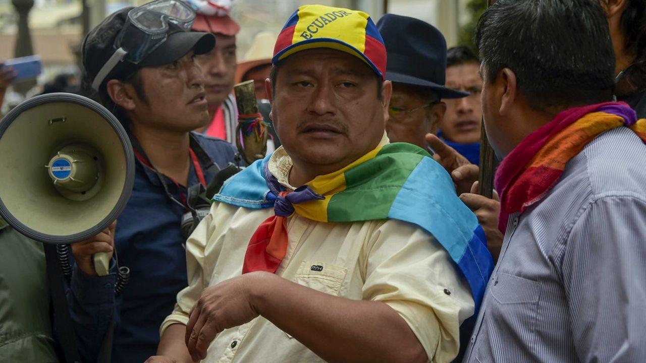 Jaime Vargas qui préside la principale organisation indigène d'Equateurlors d'une manifestation à Quito le 9octobre.