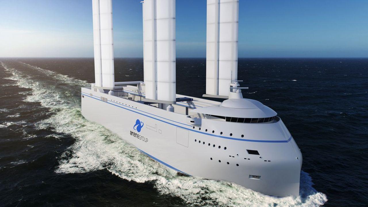 Le Canopée, c'est le nom de ce futur navire roulier de 121 mètres de long et 23 de large, sera équipé de quatre ailes de 30 mètres de haut, pour une surface cumulée de 1.452 mètres carrés. Elles lui permettront de réduire de 30% les émissions de CO2.