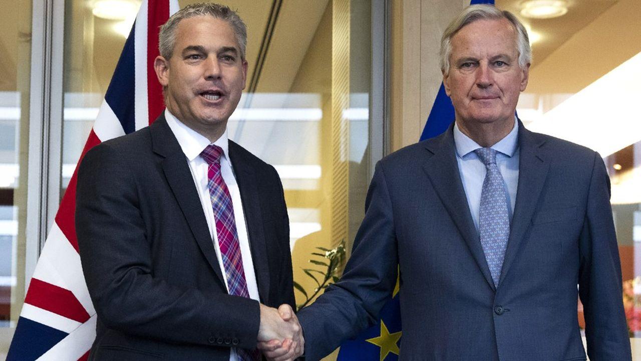 Le secrétaire d'Etat au Brexit Stephen Barclay (à gauche) a rencontré vendredi le négociation en chef de l'UE Michel Barnier.