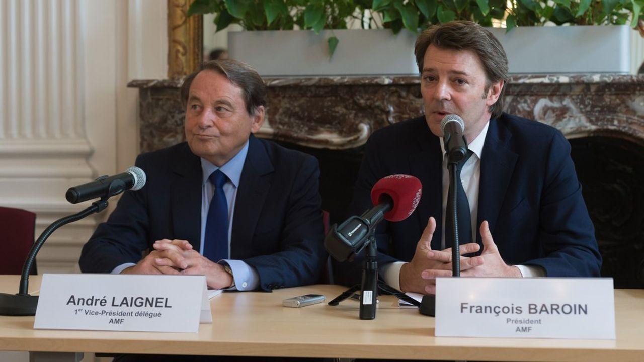 André Laignel et François Baroin, premier secrétaire et président de l'Association des maires de France.