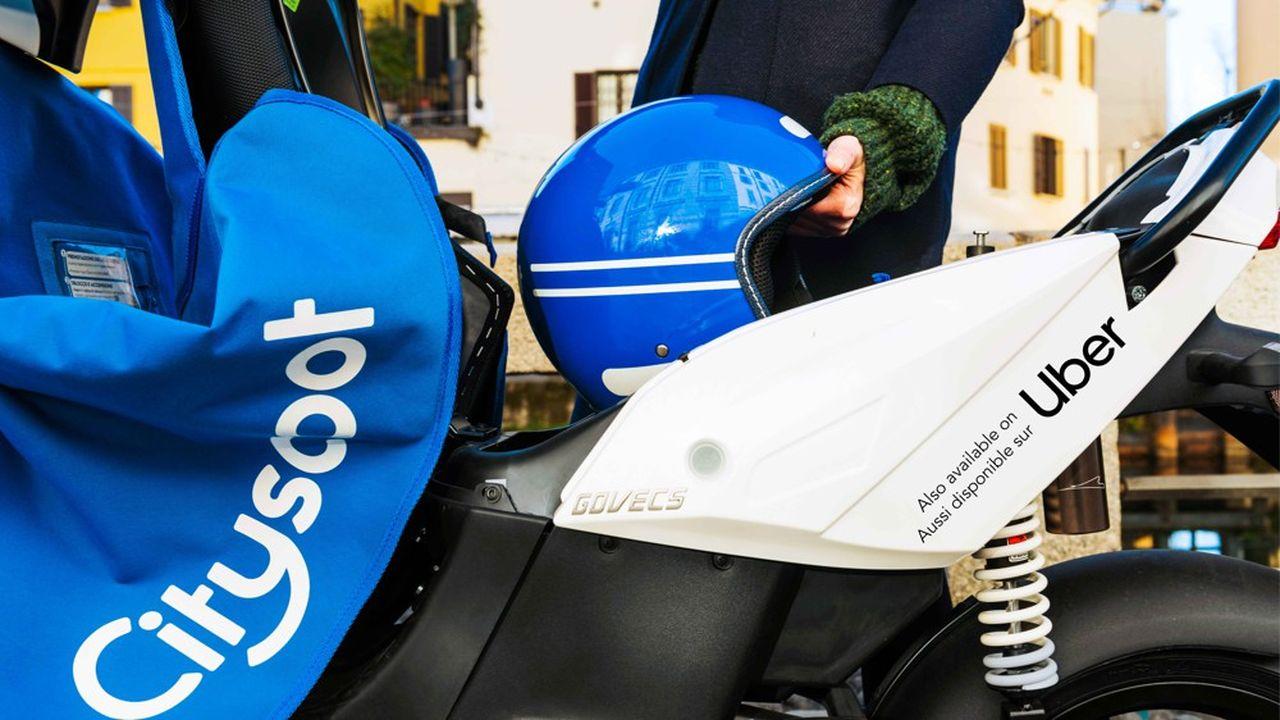 A Paris, les scooters du français Cityscoot seront bientôt siglés Uberet disponibles sur l'application du géant américain des VTC.