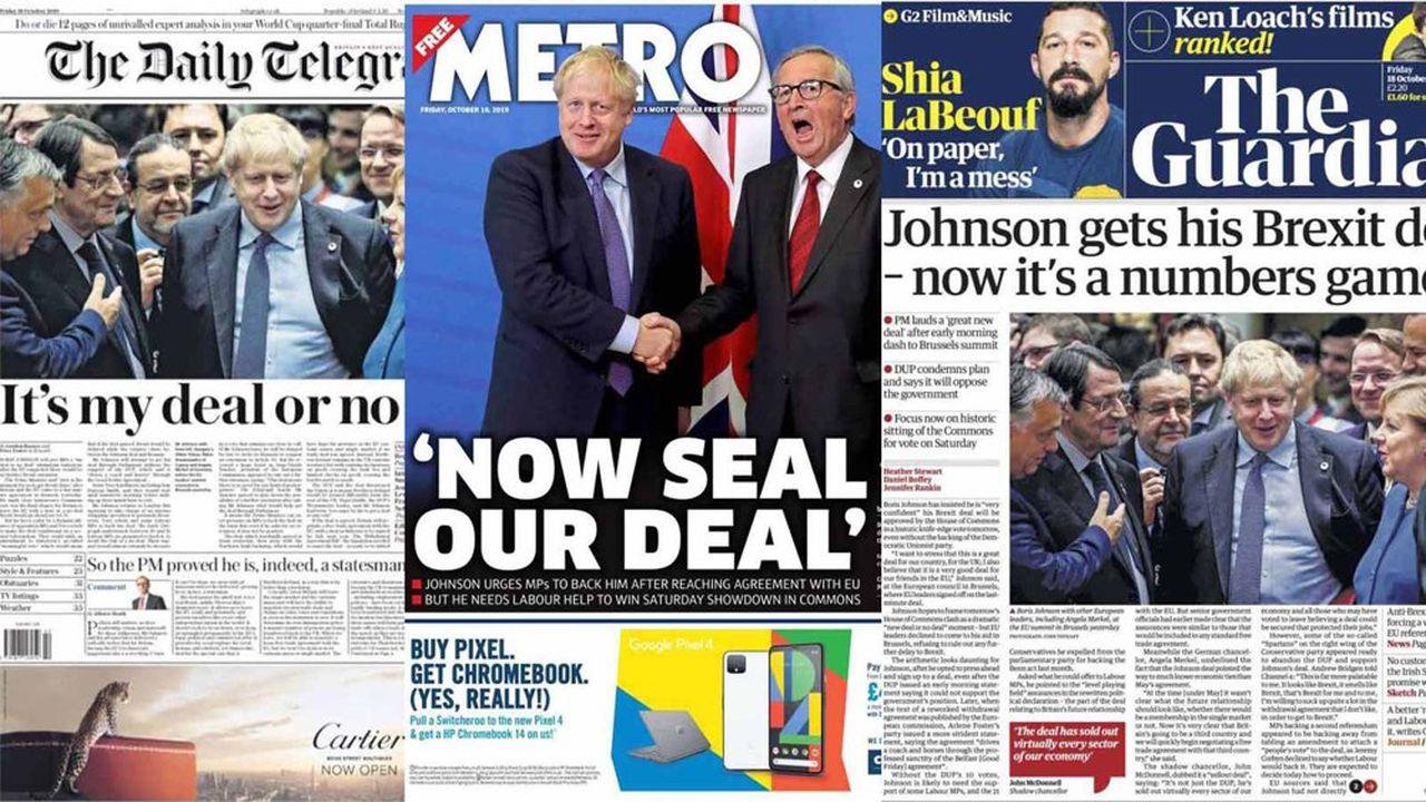 Les quotidiens en faveur d'une sortie du Royaume-Uni s'adressent directement aux parlementaires qui se prononceront samedi sur le texte approuvé à Bruxelles