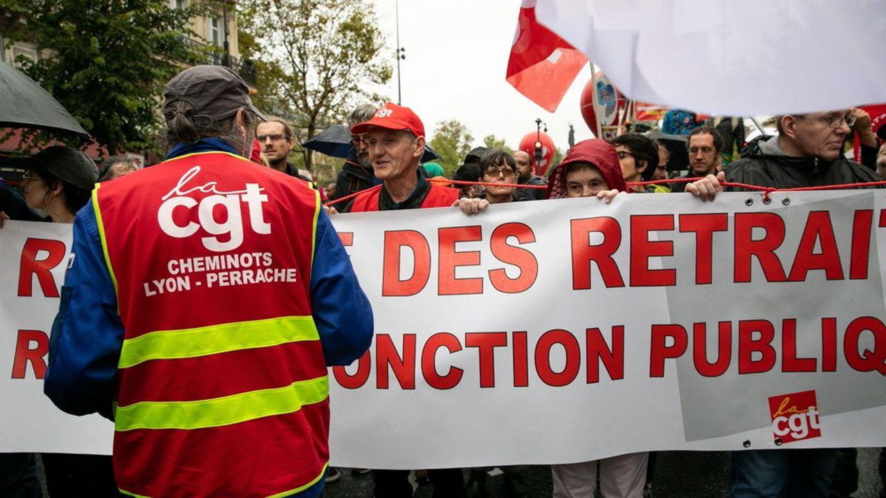 Des cheminots CGT à la mobilisation contre la réforme des retraites à laquelle a appelé la centrale de Philippe Martinez le 24septembre.