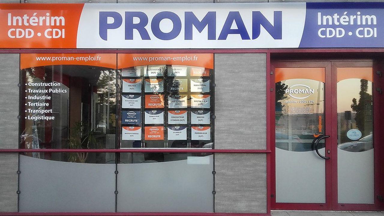 Proman compte 500agences, dont 372 en France, et 50.000intérimaires en mission chaque jour.