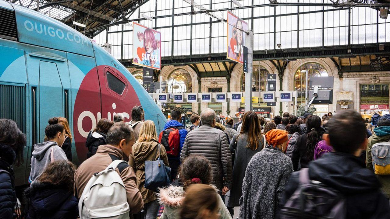 Paris, Gare de Lyon, le 20 October 2019, lors du troisième jour de grève.