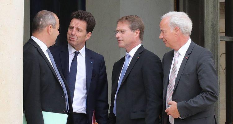 Laurent Berger (CFDT) face à Geoffroy Roux de Bezieux (Medef), François Asselin (CPME) et Alain Griset (U2P).