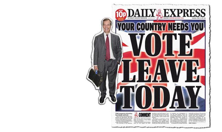 Le 23 juin 2016, la une du Daily Express en faveur du 'leave', dont un des partisans est Nigel Farage.