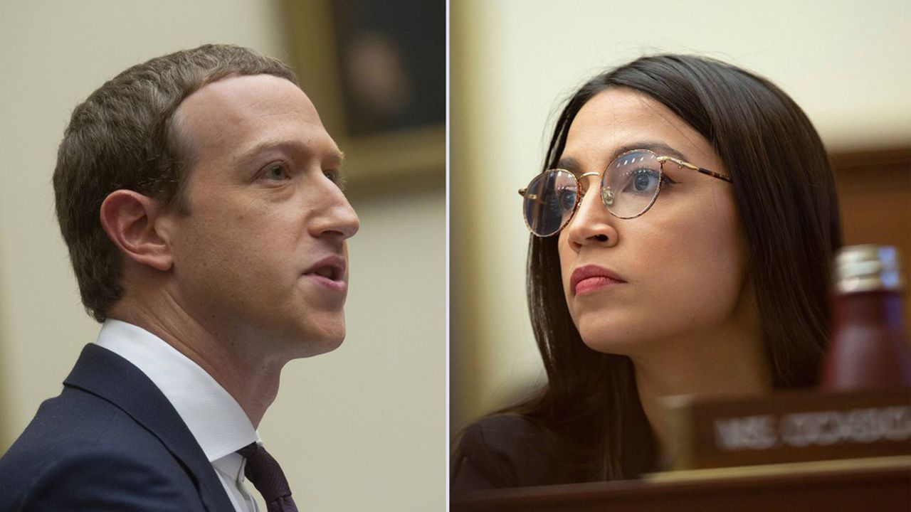 De gauche à droite : Mark Zuckerberg, patron de Facebook etAlexandria Ocasio-Cortez, représentante démocrate au Congrès.