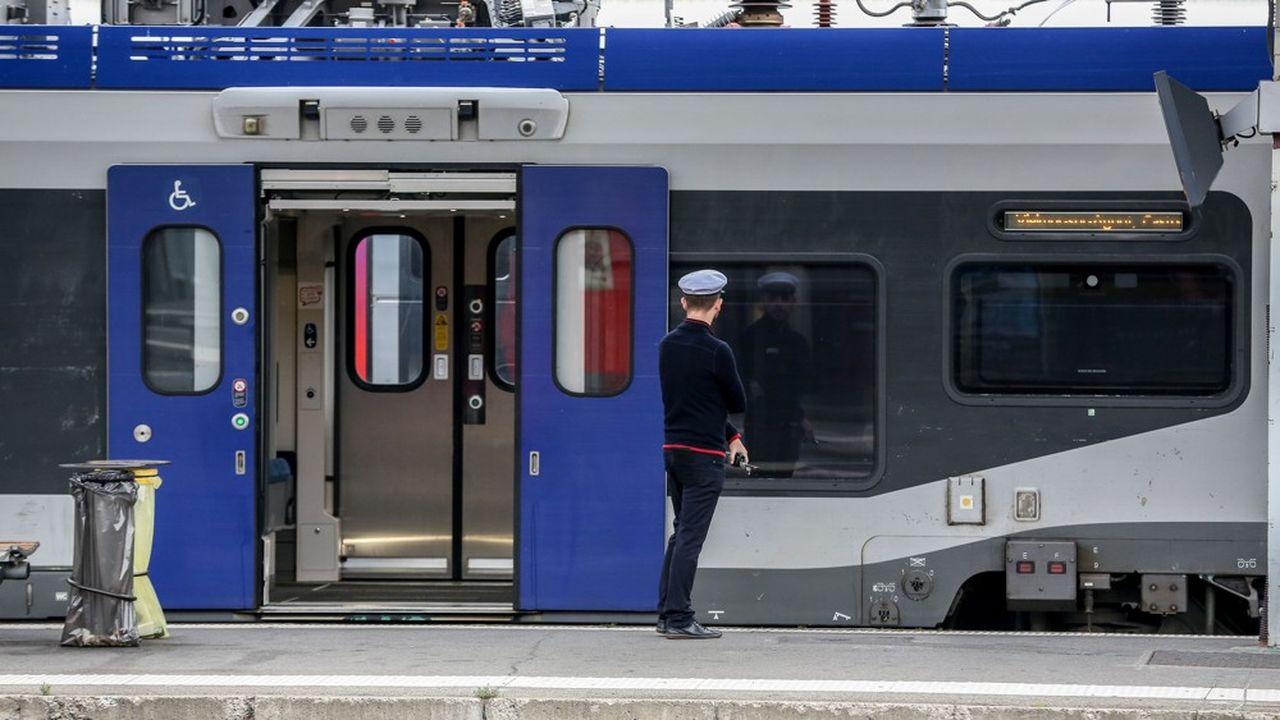 Un agent de la SNCF à Toulouse ce week-end, devant un TER déserté et resté à quai.
