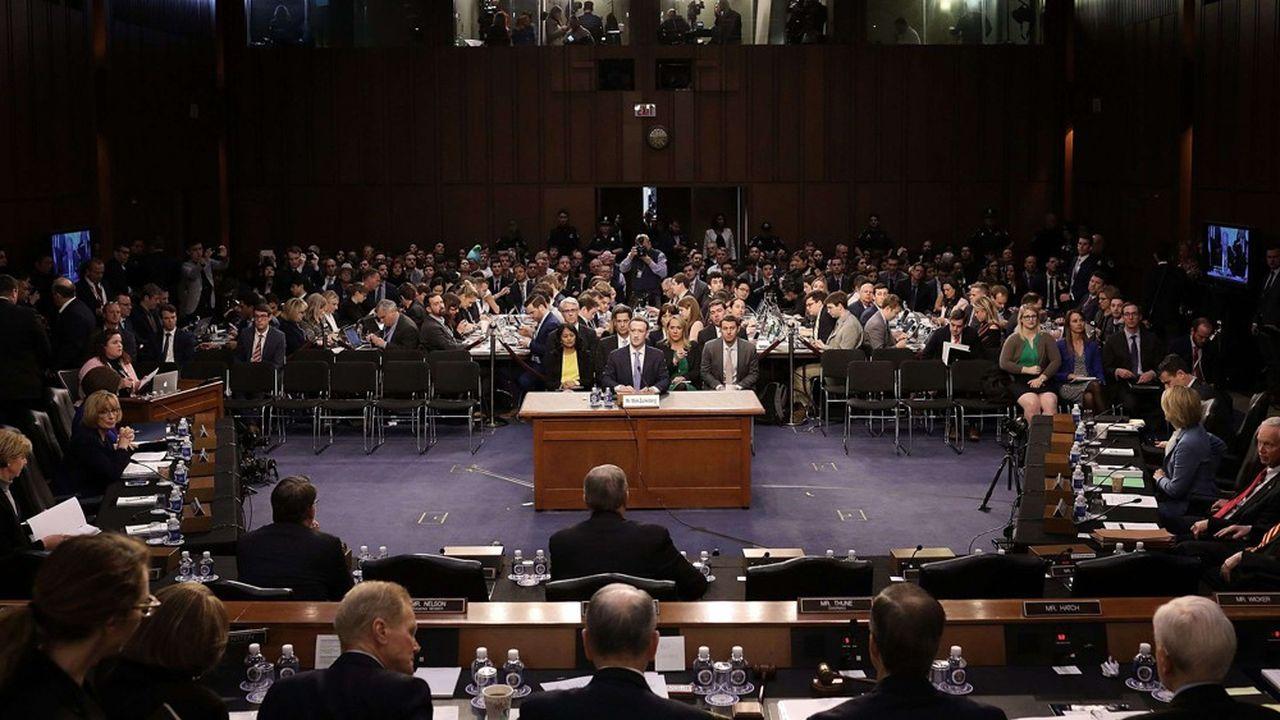 Mark Zuckerberg, lors de son audition devant le Sénat américain le 10 avril 2018.