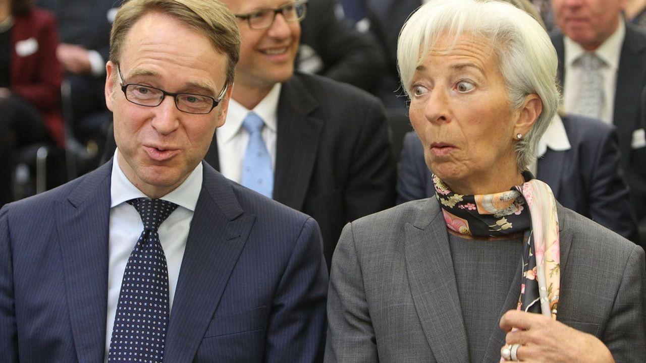 Le 5avril 2016, Jens Weidmann, le président de la Bundesbank, assistait à côté de Christine Lagarde, alors chef du FMI, à une conférence sur les perspectives économiques mondiales à l'université Goethe de Francfort. M.«non à tout», selon son surnom, a déjà dit non à Christine Lagarde, qui souhaite réorienter la BCE vers des investissements dans les obligations vertes.