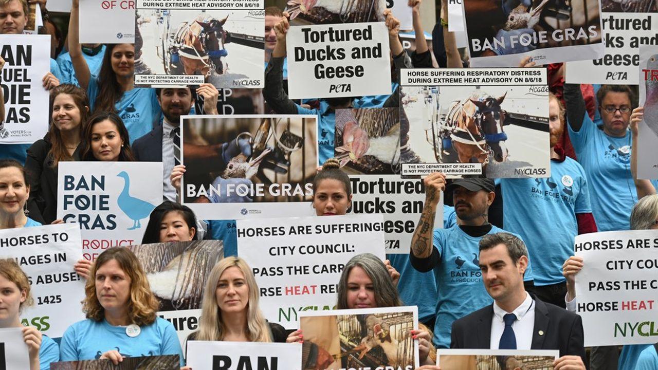 Des défenseurs de la cause animale dénoncent le foie gras lors d'une manifestation à New York, le 18juin 2019.