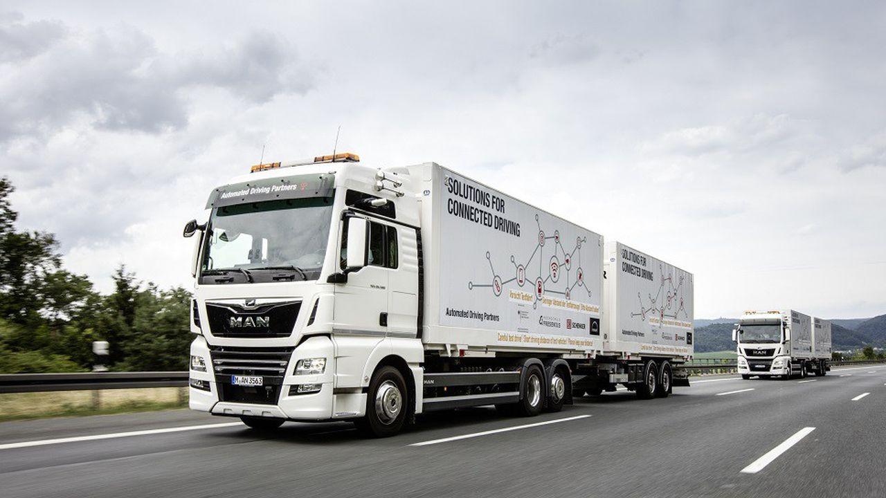 Le constructeur MAN a mené des essais de platooning sur autoroute en Allemagne.