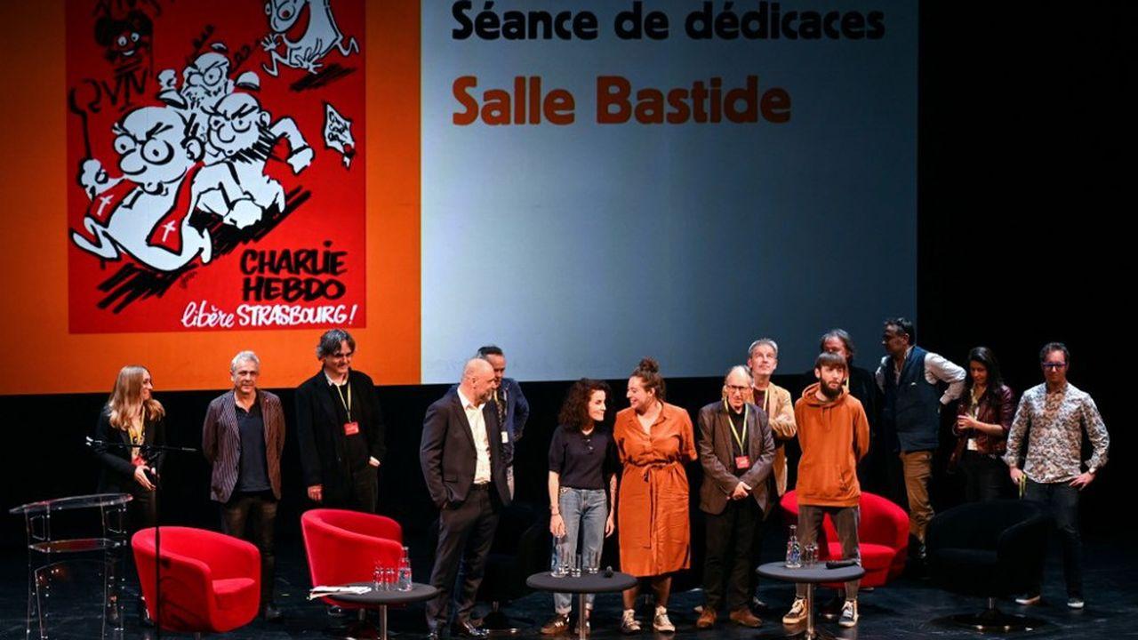 L'équipe éditoriale de Charlie Hebdo le 2 novembre à Strasbourg.
