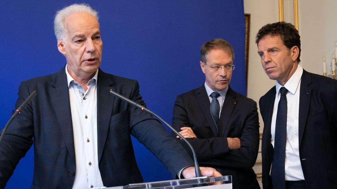 Alain Griset, président de l'U2P, Francois Asselin, président de la CPME et Geoffroy Roux de Bézieux, président du Medef.