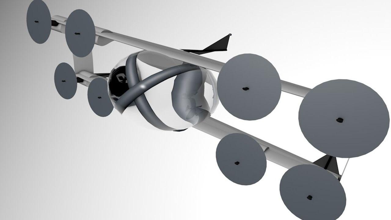Fleasy décolle verticalement, comme un drone, grâce à huit hélices.