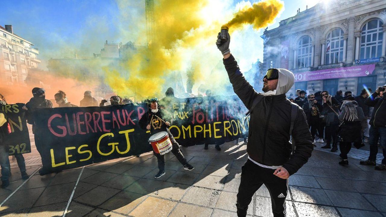Le «Nombre jaune», un groupe de «gilets jaunes» qui décompte le nombre de manifestants, n'a recensé qu'une dizaine de milliers de participants aux derniers «actes» (ici à Montpellier le 9novembre).