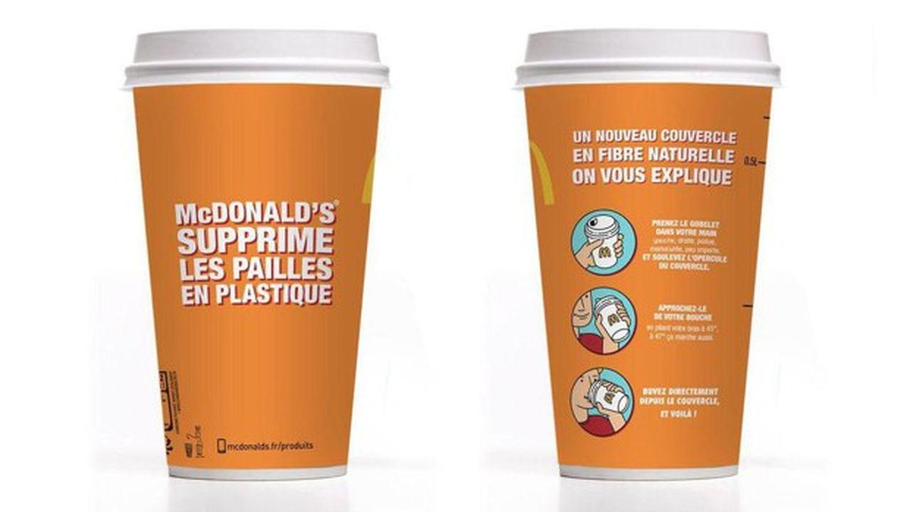 Désormais recyclables, les nouveaux couvercles vont remplacer les quelque 600millions d'exemplaires distribués chaque année dans les 1470 restaurants français de McDonald's