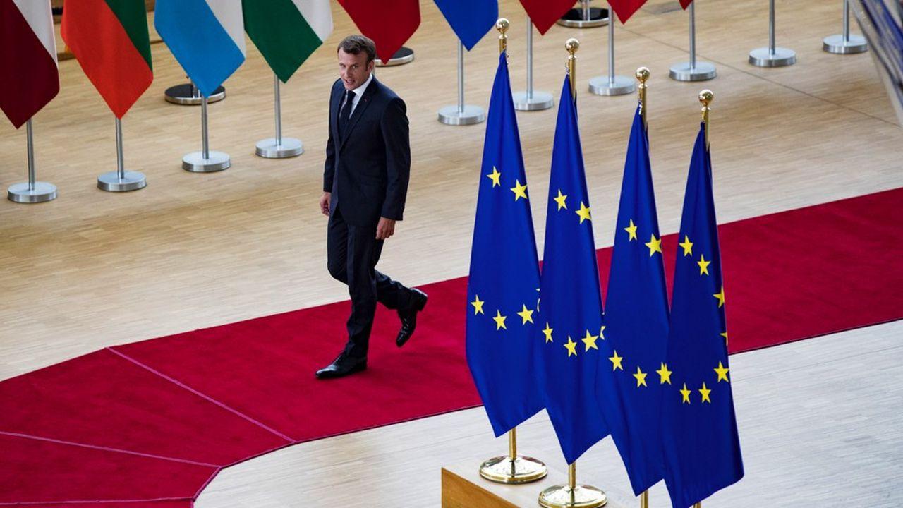 Emmanuel Macron à Bruxelles au sommet européen du 30 juin 2019. -