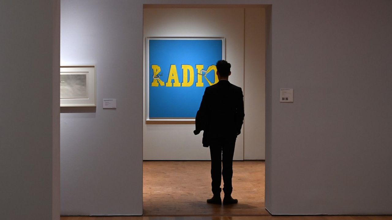 « Hurting the Word Radio #2 », d'Ed Ruscha, toile vendue chez Christie's aux ventes de novembre de New York.