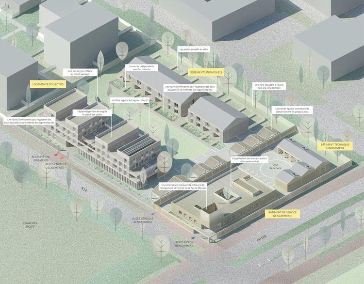 Plan de la future caserne et des logements.