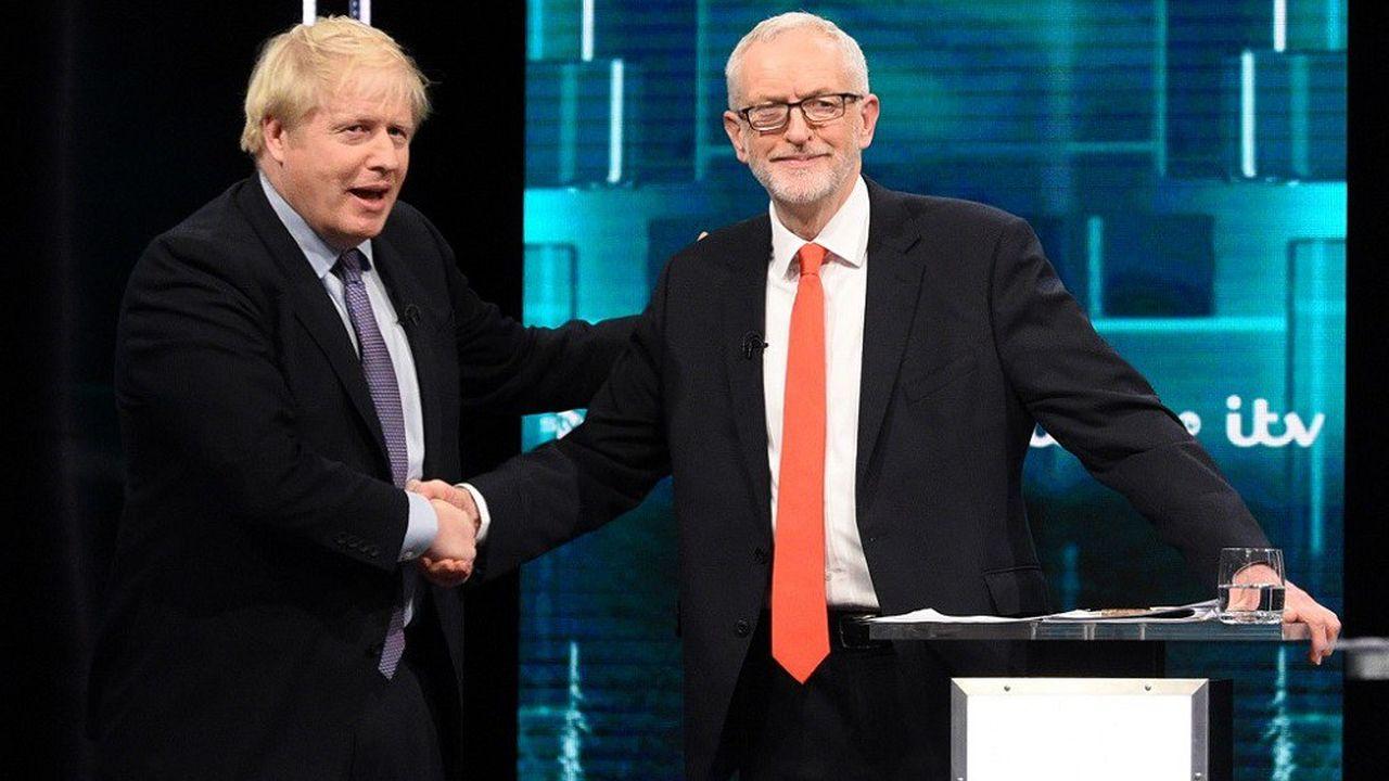Boris Johnson et Jeremy Corbyn au cours d'un débat sur la chaîne ITV.