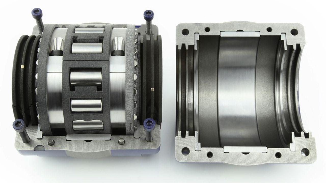 Le support de couleur noire, dans lequel sont insérés les cylindres métalliques constituant le roulement à billes, est réalisé par fabrication additive par la société Bowman à partir de poudres polyamides produites par Arkema à Serquigny, dans l'Eure.