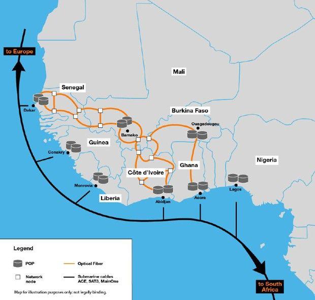 Le premier réseau de fibre international d'Orange en Afrique reliera aussi Lagos, Monrovia ou Conakry via les câbles sous-marins