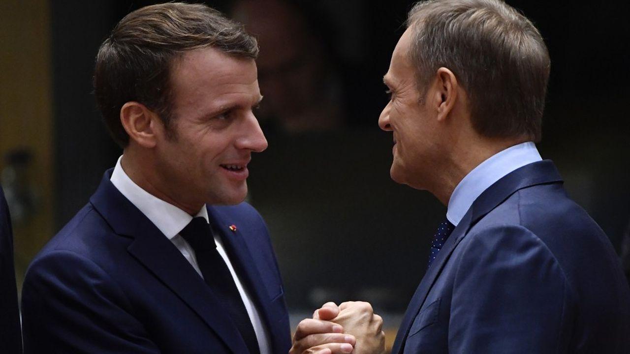 Le chef de l'Etat français, Emmanuel Macron et le président du Conseil européen, Donald Tusk ont des positions diamétralement opposées sur l'élargissement et sur le Brexit.