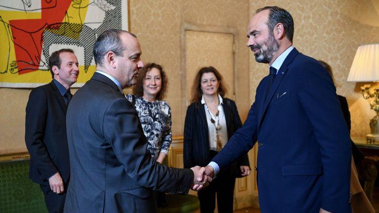 Laurent Berger (CFDT), à gauche, face au Premier ministre, Edouard Philippe.