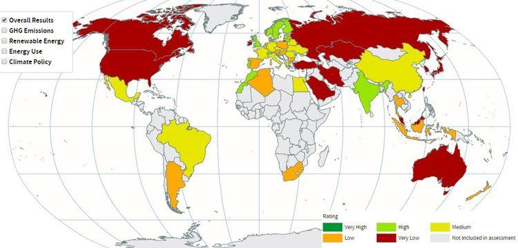 Carte du 'Climate Change Performance Index 2019', outil de surveillance indépendant de la performance des pays en matière de protection du climat.