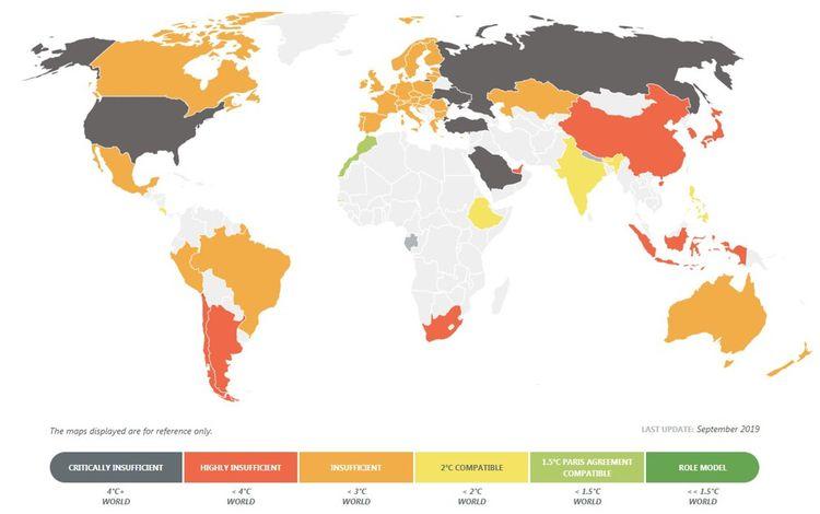 Carte du 'Climate Action Tracker', qui suit l'action gouvernementale en matière de lutte contre le changement climatique et la compare à l'objectif de l'Accord de Paris.