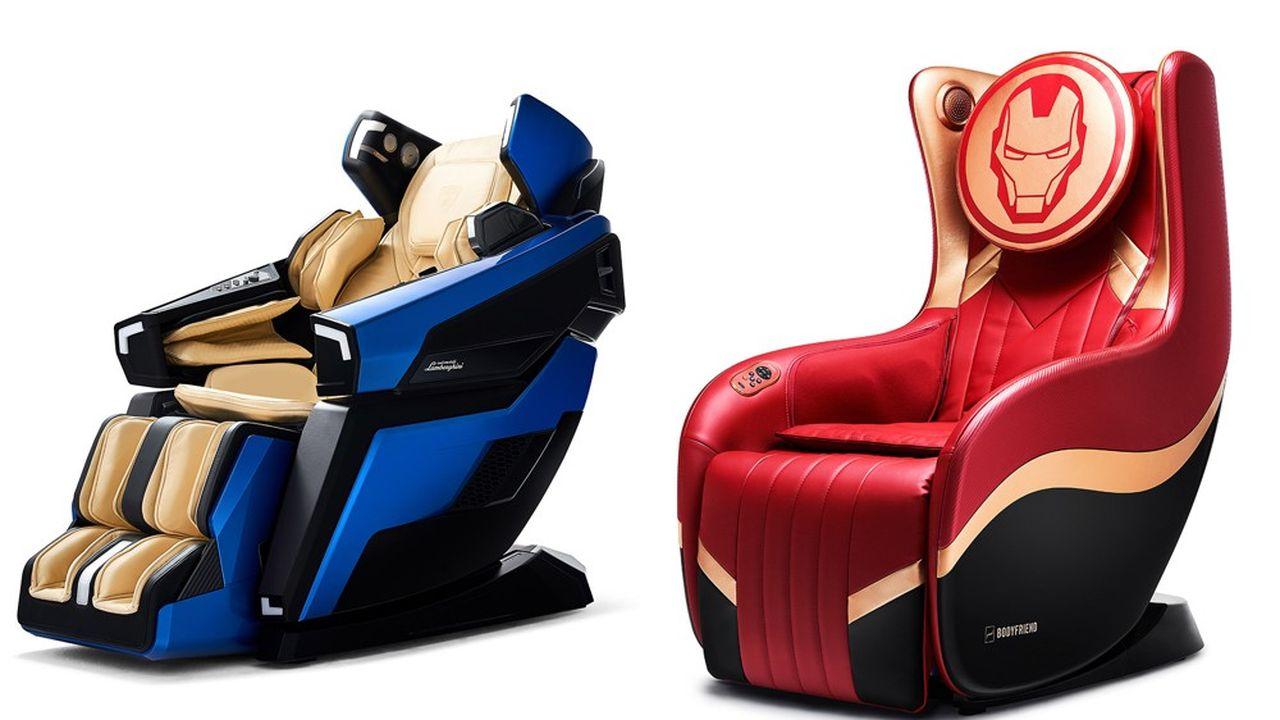 Joyau du catalogue Bodyfriend, la LBF Lamborghini bleue est vendue 30.000euros. Plus accessible la Hug Chair Iron Man ne coûte que 2.100euros.