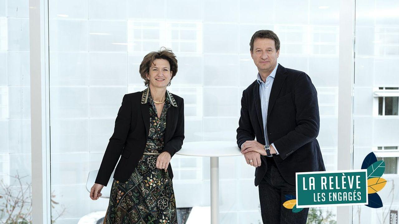 Isabelle Kocher et Yannick Jadot aux «Echos».