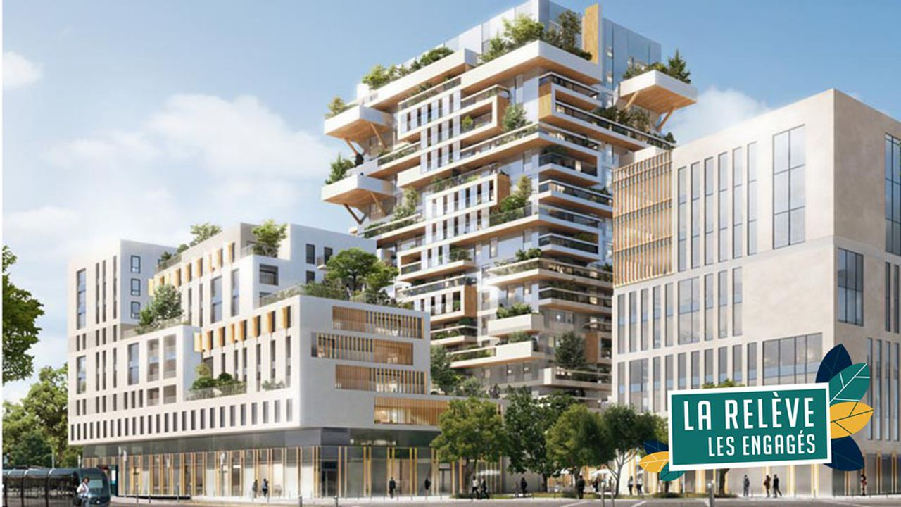 La tour qui sera composée de 1.500 pièces de bois fait partie d'un nouvel ensemble immobilier près de la gare Saint-Jean.