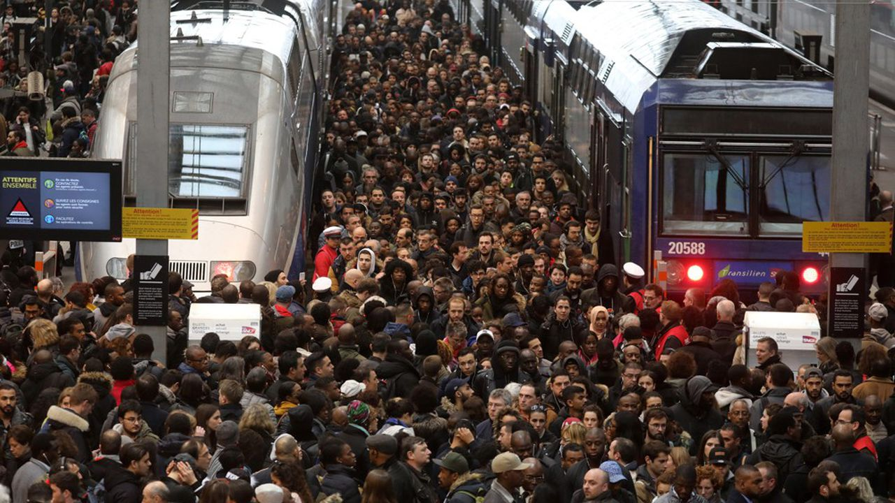 A la gare de Lyon lors de la grève SNCF en avril2018.