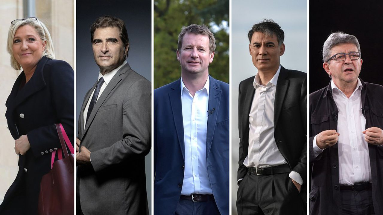 Marine Le Pen (FN), Christian Jacob (LR), Yannick Jadot (EELV), Olivier Faure (PS) et Jean-Luc Mélenchon (LFI).