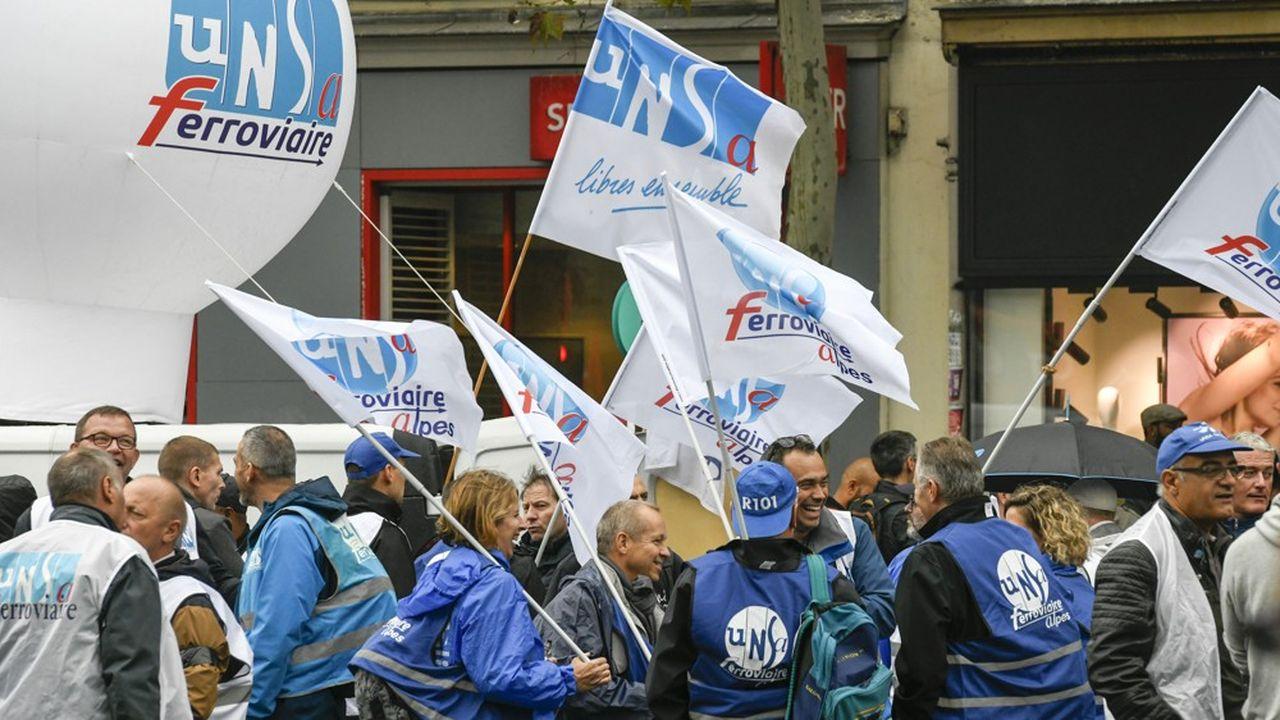 Unsa-ferroviaire. Manifestation unitaire à l'appel de la CGT contre la réforme des retraites et les suppressions d'emplois, et pour la défense des services publics, le 24septembre 2019.