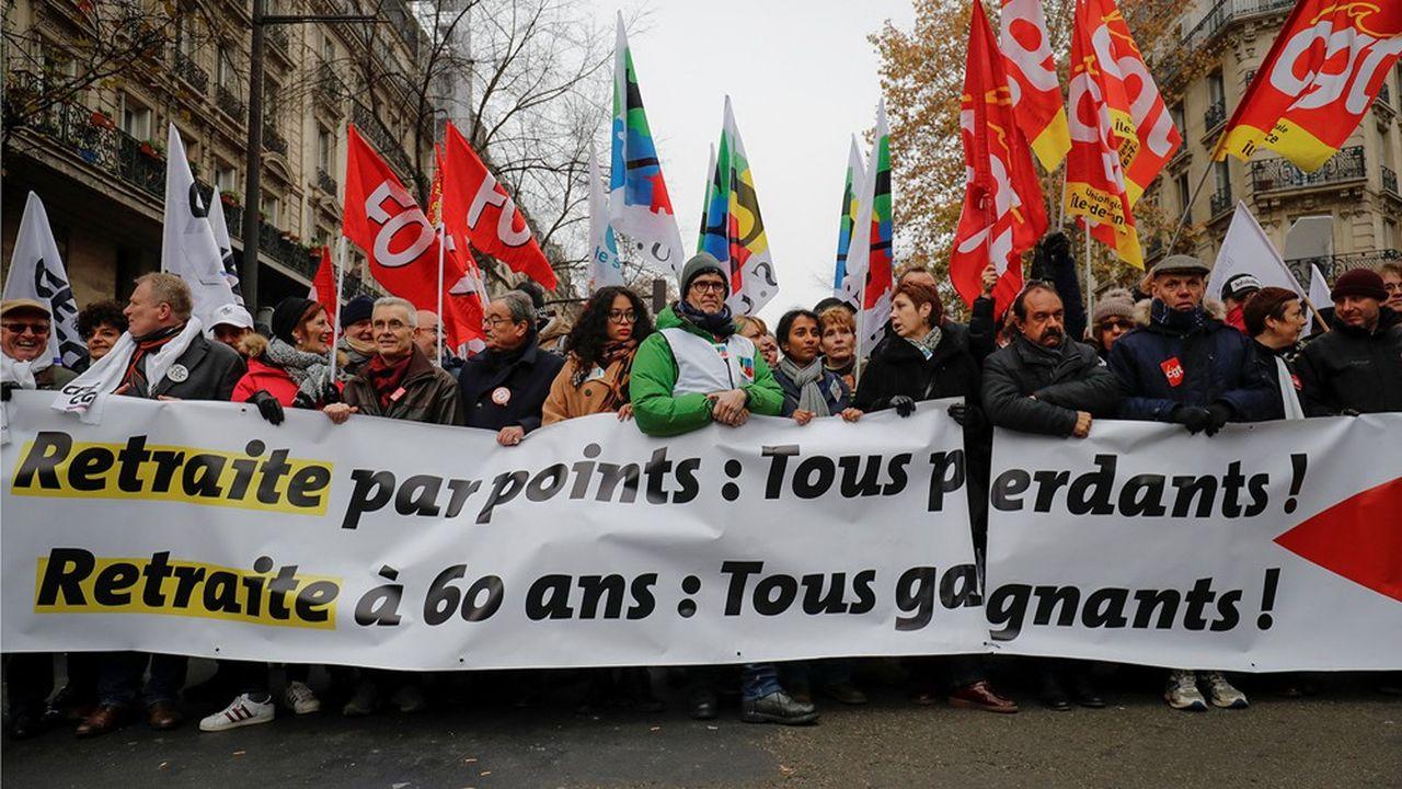 François Hommeril (CGC), Yves Veyrier (FO), Bernadette Groison (FSU) et Philippe Martinez (CGT) au départ de la manifestation pariienne du 5 décembre 2019 contre la réforme des retraites.