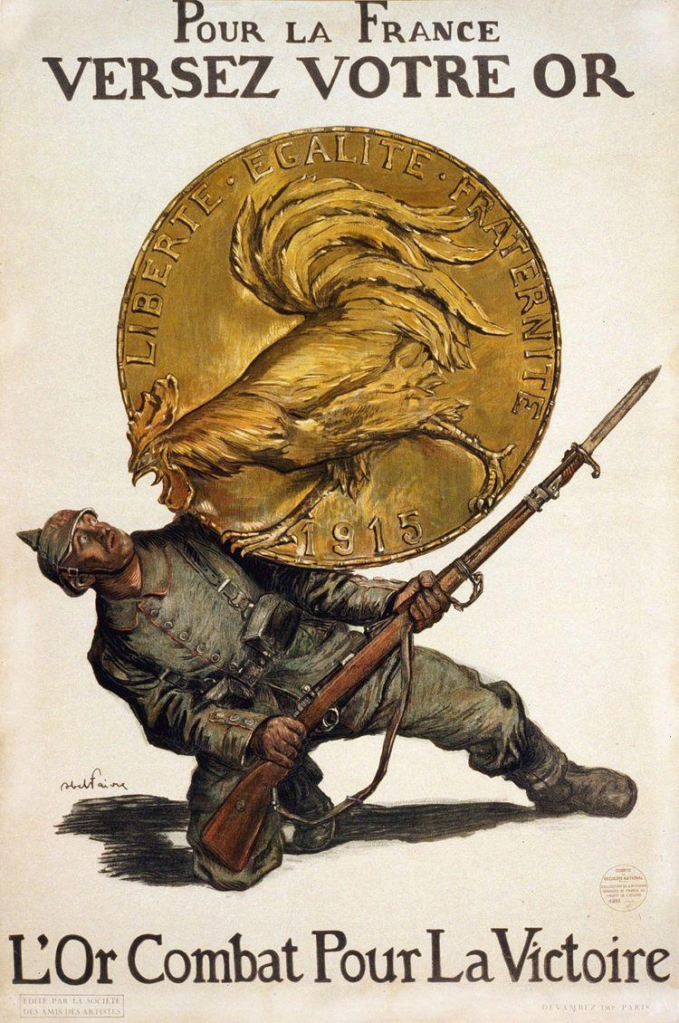 L'affiche patriotique d'Abel Faivre en 1915, demandant aux Français d'échanger leur or contre des billets.