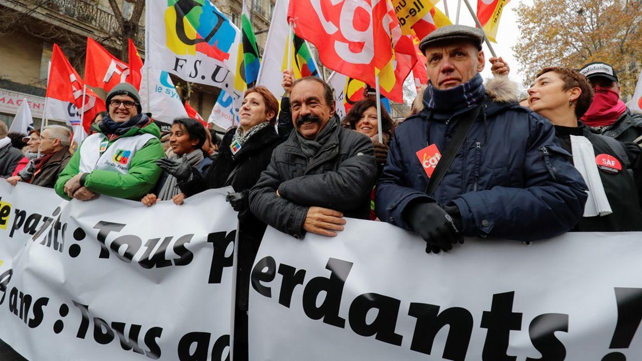 Philippe Martinez (CGT) et Bernadette Groison (FSU) jeudi lors de la manifestation à Paris.