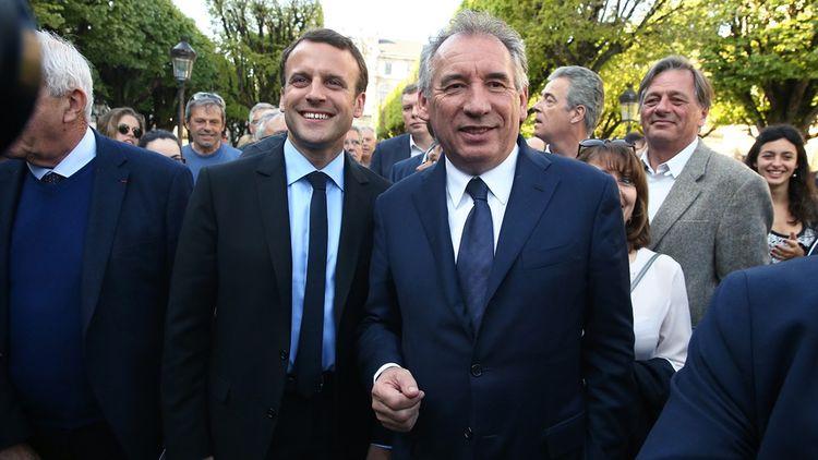 François Bayrou et Emmanuel Macron en avril2017.