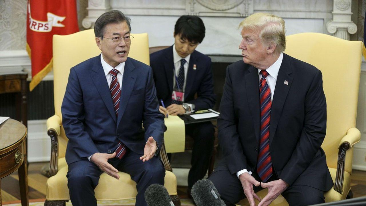 Rencontre entre le président sud-coréen Moon Jae-in et le président américain Donald Trump à Washington en mai2018. Aujourd'hui les deux dirigeants estiment «grave» le blocage dans les discussions avec la Corée du Nord concernant sa dénucléarisation.