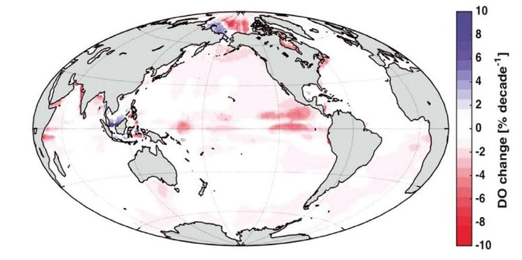 Changement estimé de la teneur en oxygène des océans depuis 1960.