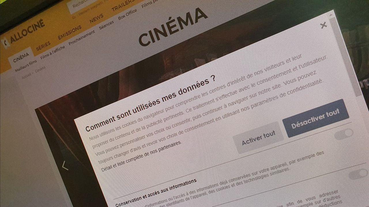 Le site AlloCiné, propriété de l'éditeurWebedia, est mis en cause par l'association pour ses bannières de cookies.