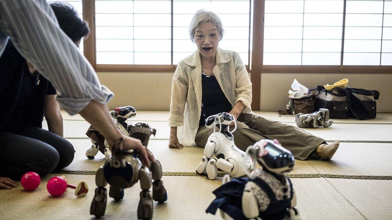 Au Japon, une femme âgée au contact d'un robot à l'apparence d'un chien.