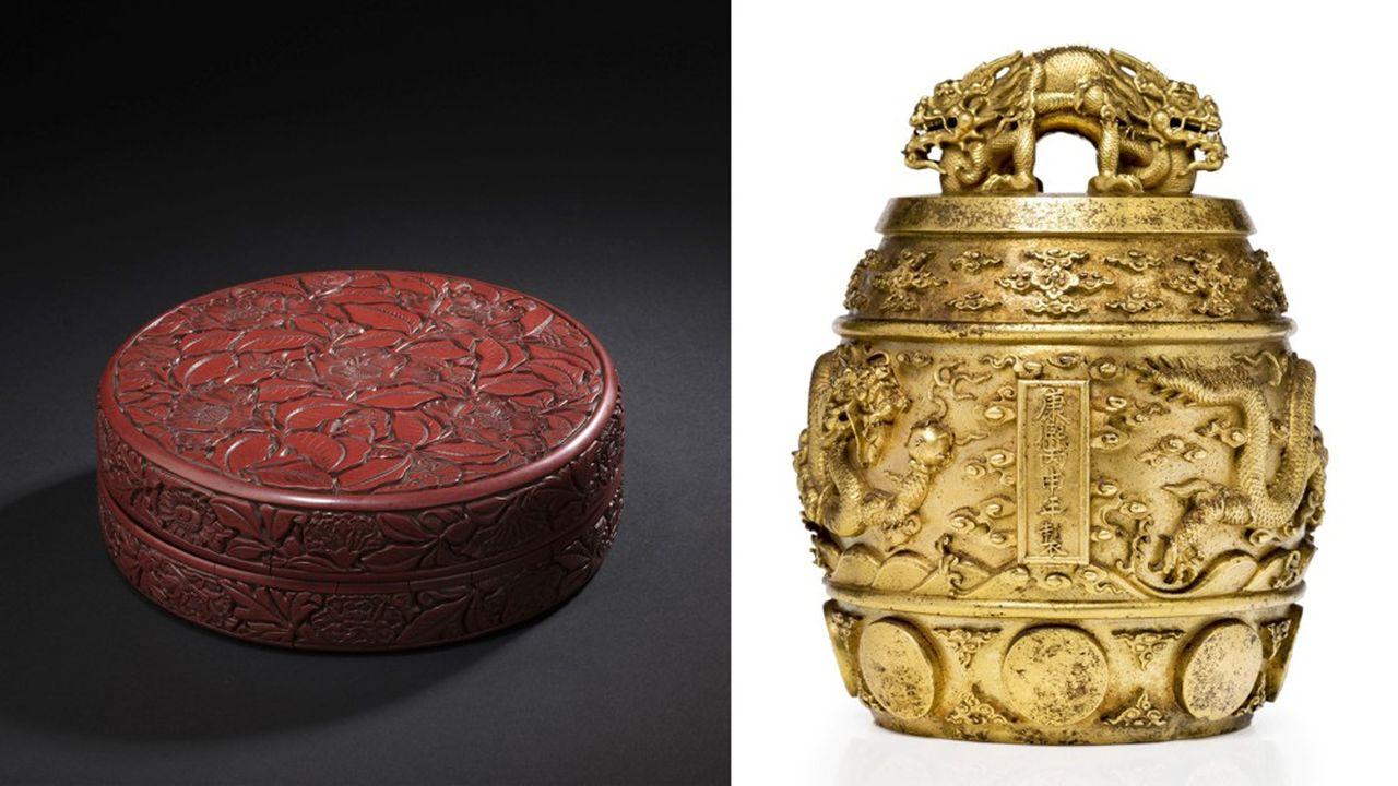 Vente Mathias & Oger-Blanchet le 9 décembre 2019 à DrouotCHINE - Début XVe siècle, boîte de forme ronde en laque rouge sculptée sur le couvercle de cinq fleurs de camélias et bourgeons dans leur feuillage. Prix réalisé : 2 060 800 € frais inclus. Vente Tessier & Sarrou le 16 décembre 2019 à DrouotCHINE -Epoque KANGXI (1662 - 1722)Cloche rituelle bianzhong en bronze doréEstimation : 200 000 - 300 000 €